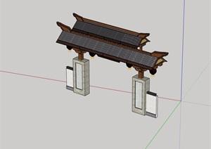 古典中式详细完整的大门SU(草图大师)模型