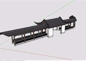 古典中式详细的廊亭组合素材设计SU(草图大师)模型