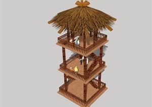 某中式茅草观景塔素材设计SU(草图大师)模型