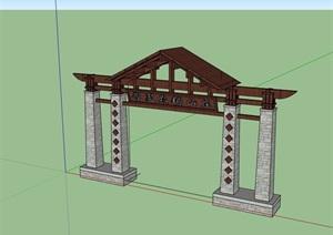 某山庄中式详细的大门素材设计SU(草图大师)模型
