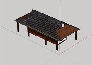 现代中式风格详细的公厕建筑SU(草图大师)模型