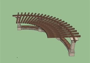 小半圆廊架素材详细设计SU(草图大师)模型