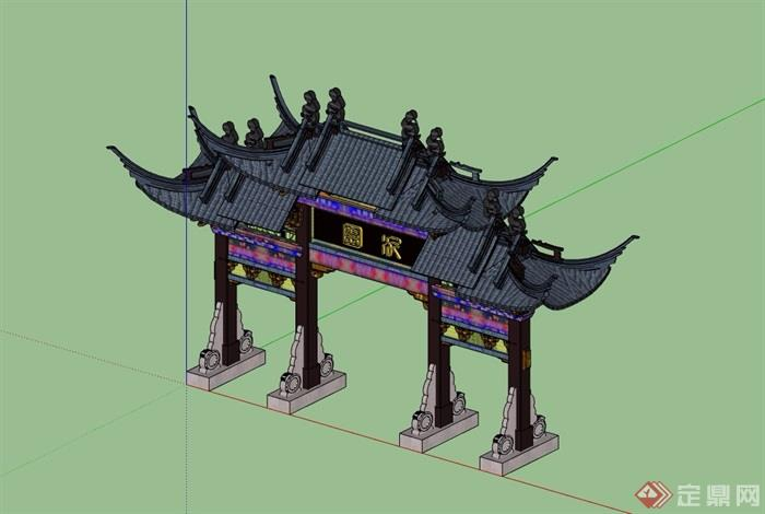 古典中式详细的牌坊素材su模型