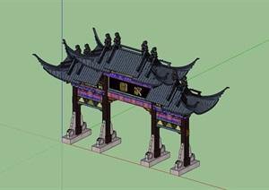古典中式详细的牌坊素材SU(草图大师)模型