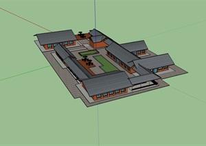 某中式详细的餐饮建筑素材设计SU(草图大师)模型