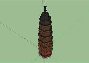 8层园林景观塔楼素材设计SU(草图大师)模型