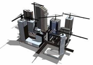 城市建筑施工场景SU(草图大师)模型