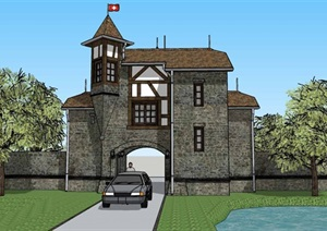 城堡建筑和室内装饰风格两层