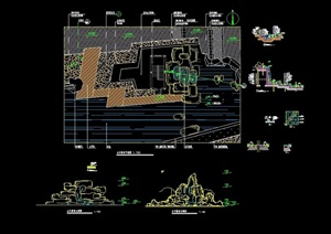 园林景观假山水池详细景观设计cad施工图