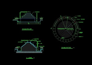 某独特圆形跌水水景设计cad施工图