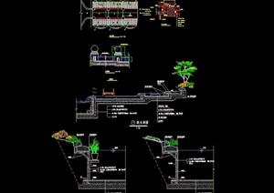 现代叠水水景详细设计cad施工图