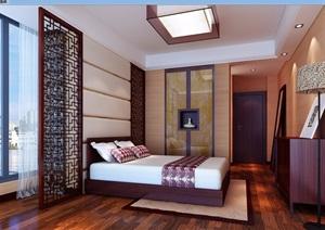 中式详细的整体卧室空间3d模型