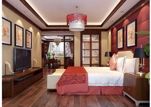 中式详细的卧室装饰3d模型及效果图