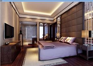 简约中式详细的卧室装饰3d模型