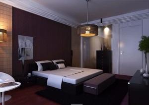 简约中式卧室空间装饰3d模型
