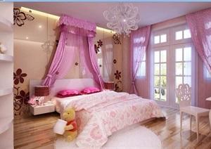 详细的完整女儿房装饰设计3d模型