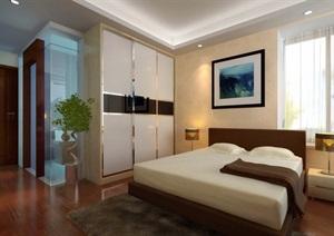 现代详细的整体卧室空间装饰3d模型