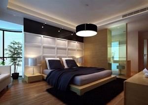 现代详细的完整卧室装饰3d模型