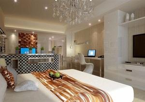 现代风格详细的完整卧室装饰空间3d模型