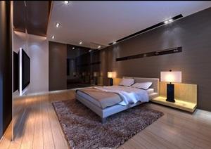 现代详细的整体卧室3d模型