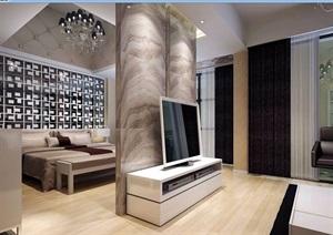详细的现代卧室装饰空间设计3d模型