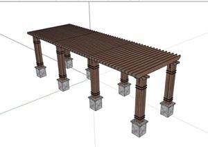 园林景观详细完整廊架素材SU(草图大师)模型