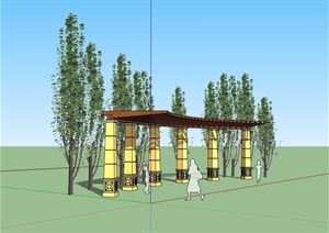 园林景观详细弧形廊架素材SU(草图大师)模型