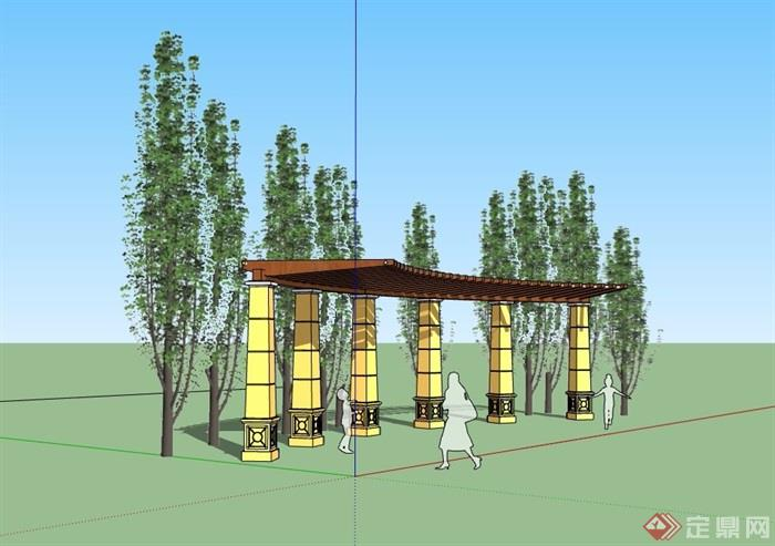 园林景观详细弧形廊架素材su模型