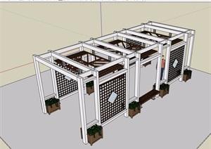 园林景观庭院廊架素材设计SU(草图大师)模型