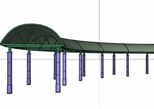欧式详细的弧形长廊设计SU(草图大师)模型