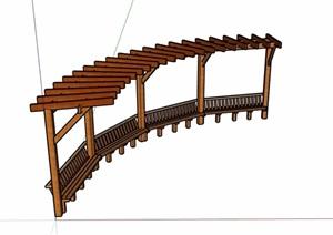 详细的完整全木质廊架素材SU(草图大师)模型