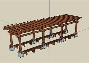 全木质详细的园林景观廊架素材SU(草图大师)模型