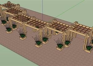 某详细的景观廊架素材设计SU(草图大师)模型