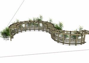 S形状木质廊架素材SU(草图大师)模型