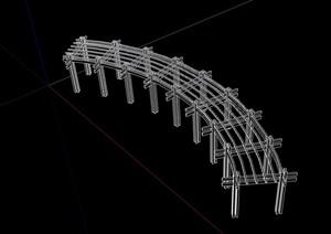 详细的无材质贴图廊架素材设计SU(草图大师)模型