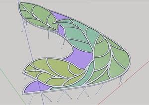 详细的玻璃廊素材设计SU(草图大师)模型