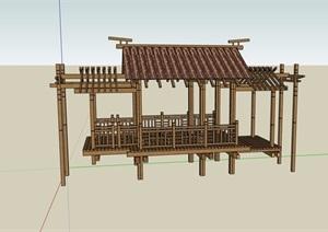 古典中式详细的廊亭素材设计SU(草图大师)模型