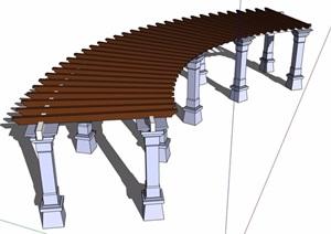 现代景观详细完整的廊架素材设计SU(草图大师)模型