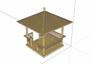 中式全木质详细完整的凉亭素材设计SU(草图大师)模型