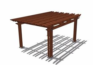 详细的全木质廊架素材设计SU(草图大师)模型