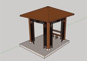 全木质详细的凉亭素材设计SU(草图大师)模型