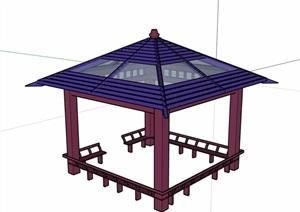 详细的经典完整凉亭素材设计SU(草图大师)模型