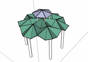 独特造型的凉亭素材设计SU(草图大师)模型