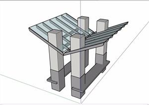 中式休闲玻璃凉亭素材设计SU(草图大师)模型