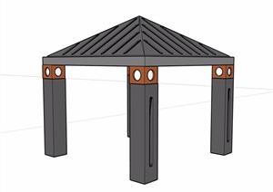 详细的景观休闲凉亭素材设计SU(草图大师)模型