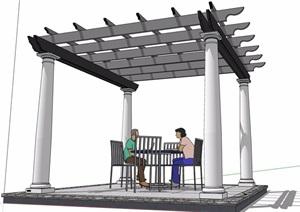 详细的休闲景观廊架素材SU(草图大师)模型