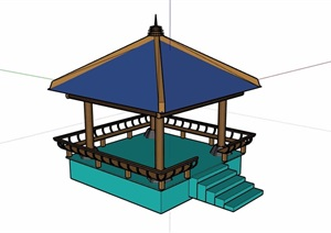中式景观休闲凉亭素材设计SU(草图大师)模型