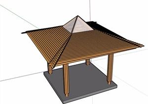 中式休闲凉亭素材设计SU(草图大师)模型