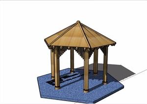 中式详细完整的木质亭子素材设计SU(草图大师)模型
