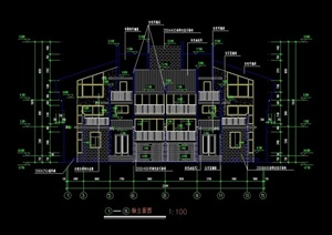 某中式详细联体别墅建筑cad施工图